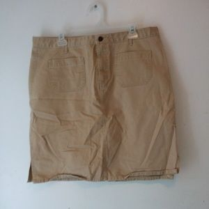 Old Navy tan skirt pockets mini slits sz 16